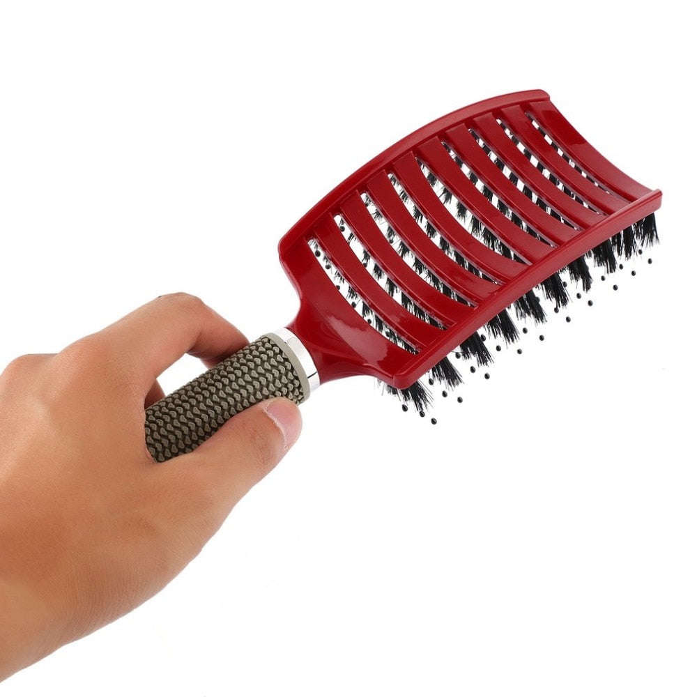 Hair Scalp Massage Comb Bristle & Nylon Hairbrush Curly Detangle Hair Brush