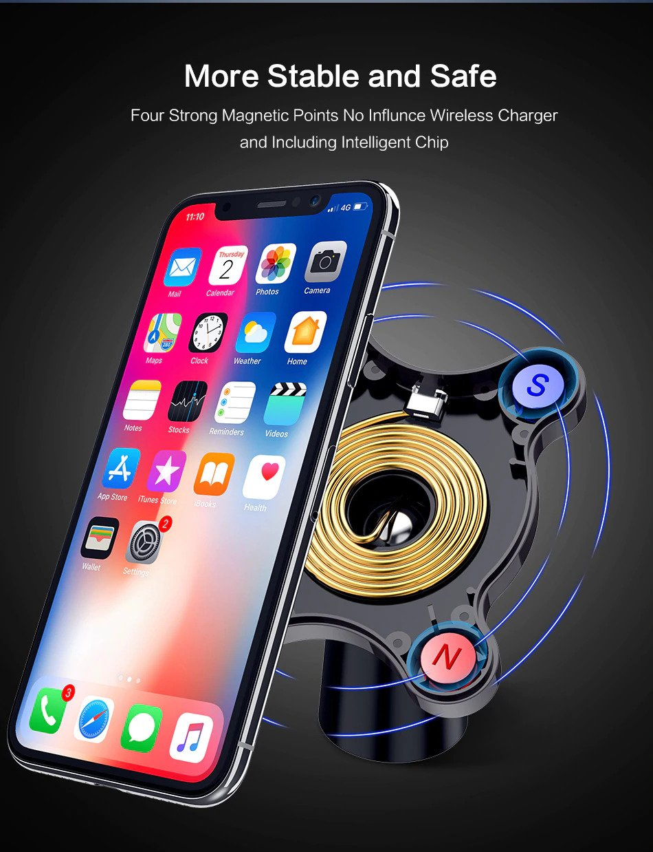 Qi Wireless Charger For iPhone X 8 Plus Fast Charger Magnetic Car Phone Holder For Samsung Galaxy S9 S8 Plus Note 9