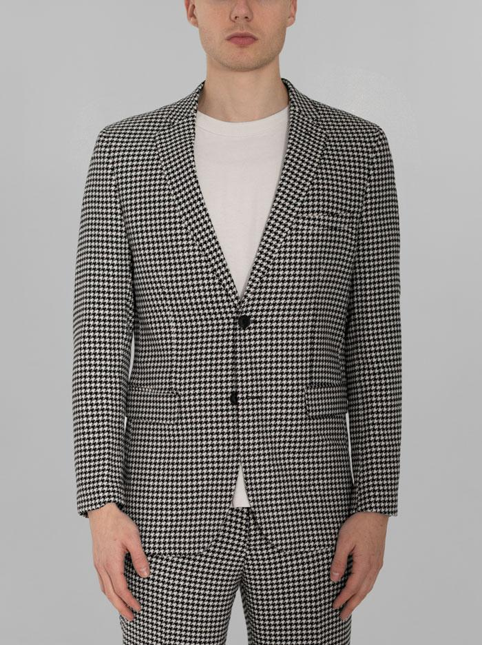Black & White Large Houndstooth Two Button Suit