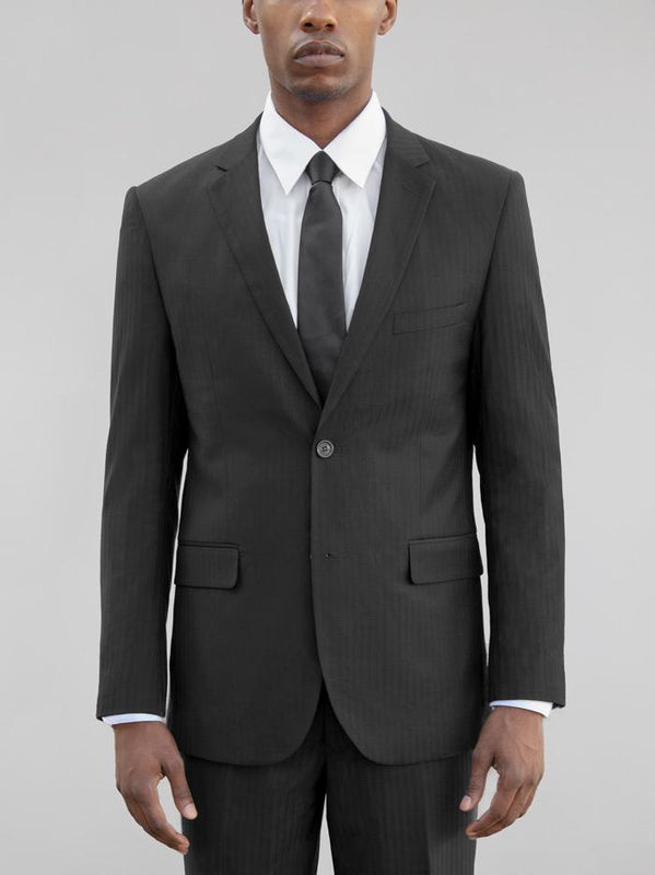 BLACK TONE-ON-TONE TWO BUTTON SUIT