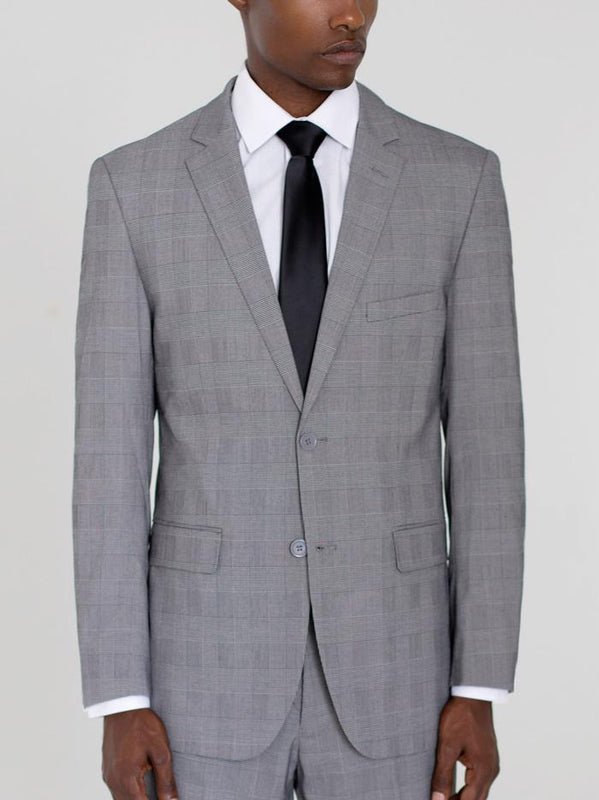 BLACK & WHITE GLEN PLAID TWO BUTTON SUIT