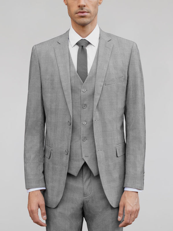 Black & White Glen Plaid Three Piece Suit
