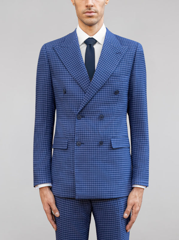 Royal & Slate Blue Large Houndstooth Double Breasted Wide Lapel Suit
