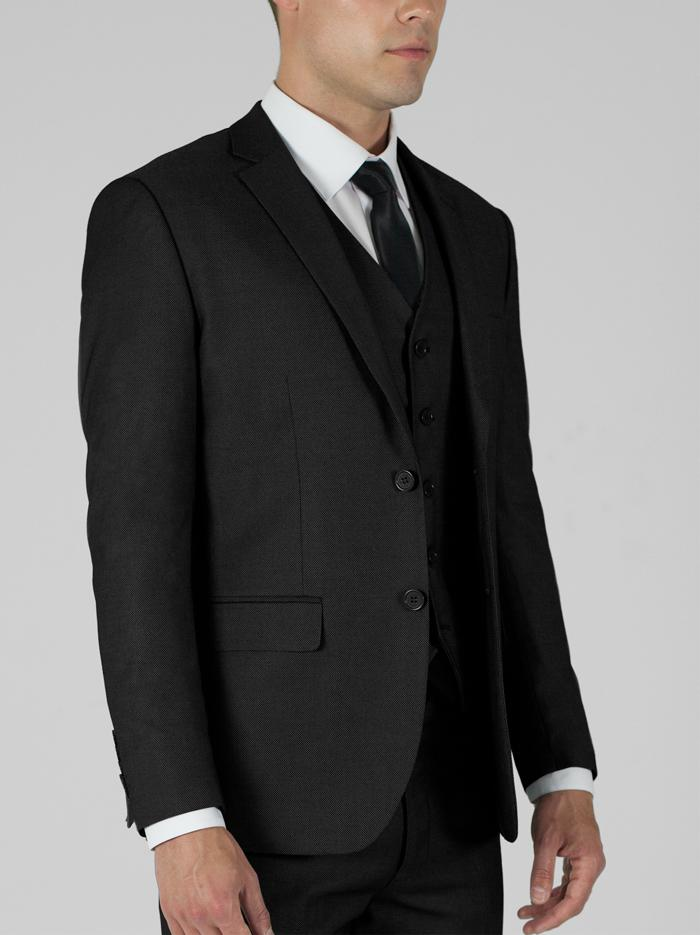 Birdseye Black Two Button Suit