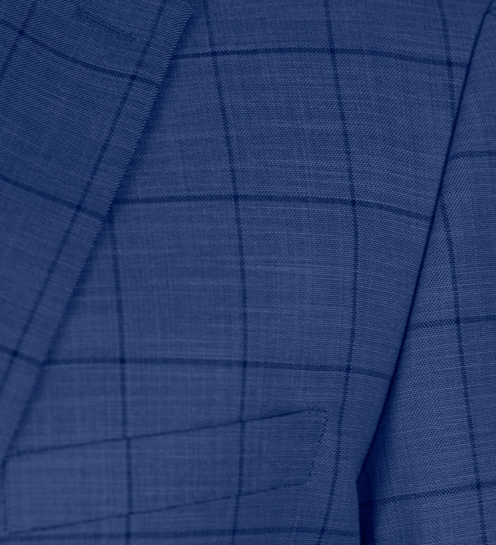 Blue Plaid Two Button Suit