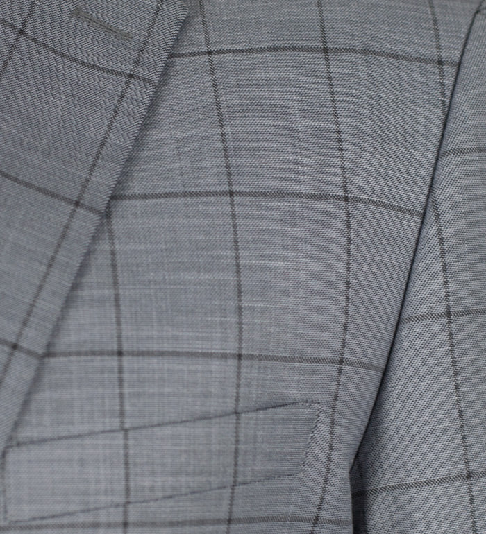 Light Grey Plaid Two Button Suit