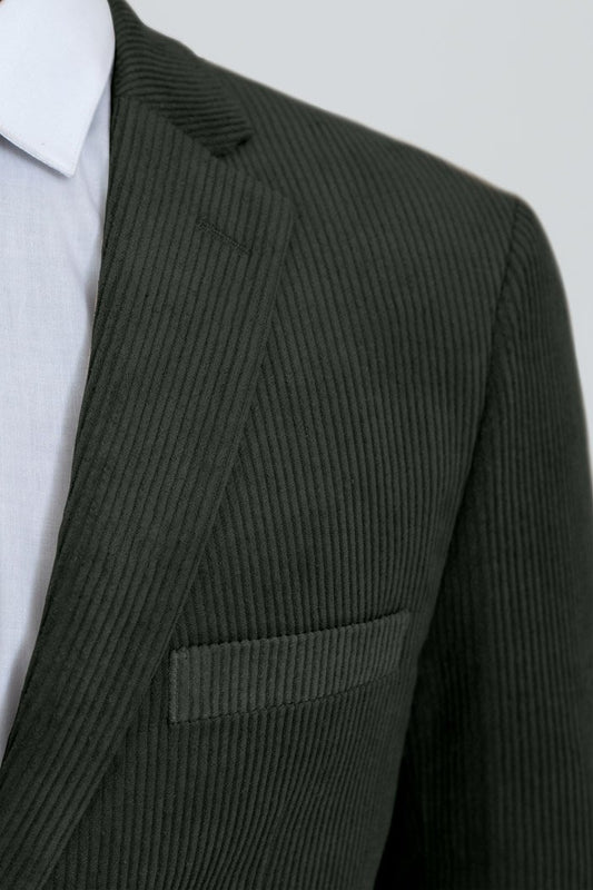 Forest Green Corduroy Two Button Suit