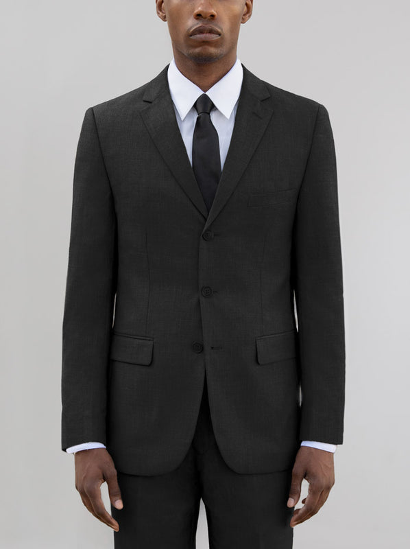 BLACK THREE BUTTON SUIT