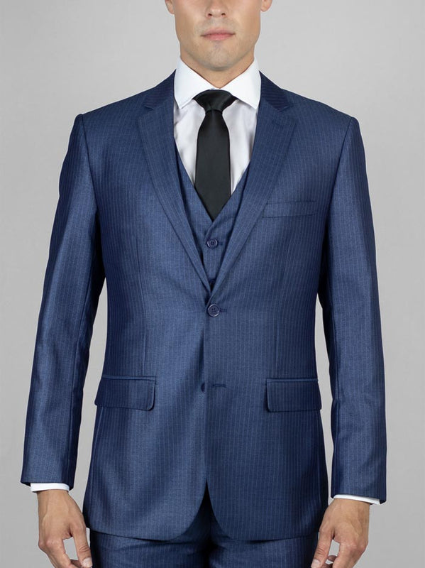 BLUE PINSTRIPE THREE PIECE SUIT