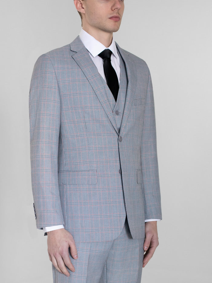 Grey & Red Plaid Three Piece Suit