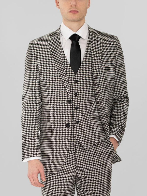 BLACK & WHITE LARGE HOUNDSTOOTH THREE PIECE SUIT