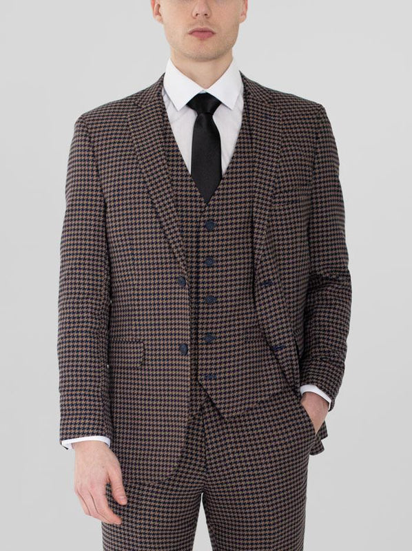 NAVY BLUE & TAN LARGE HOUNDSTOOTH THREE PIECE SUIT