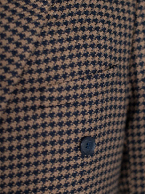 NAVY BLUE & TAN LARGE HOUNDSTOOTH DOUBLE BREASTED SUIT