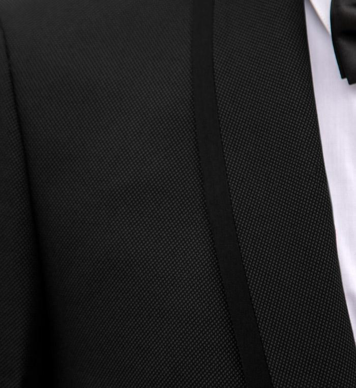 Birdseye Black Shawl Lapel & Black Trim Tuxedo