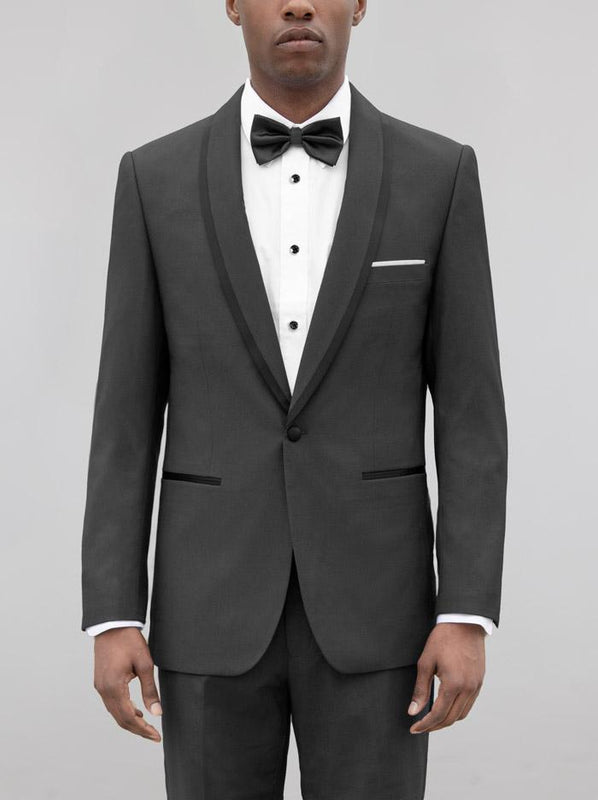 CHARCOAL GREY SHAWL LAPEL & BLACK TRIM TUXEDO (coming soon)