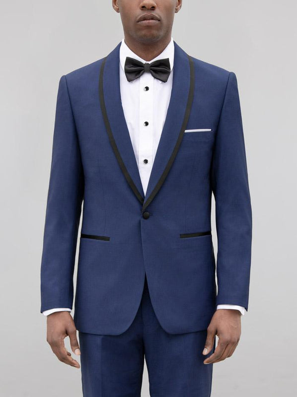 BIRDSEYE BLUE SHAWL LAPEL & BLACK TRIM TUXEDO (coming soon)