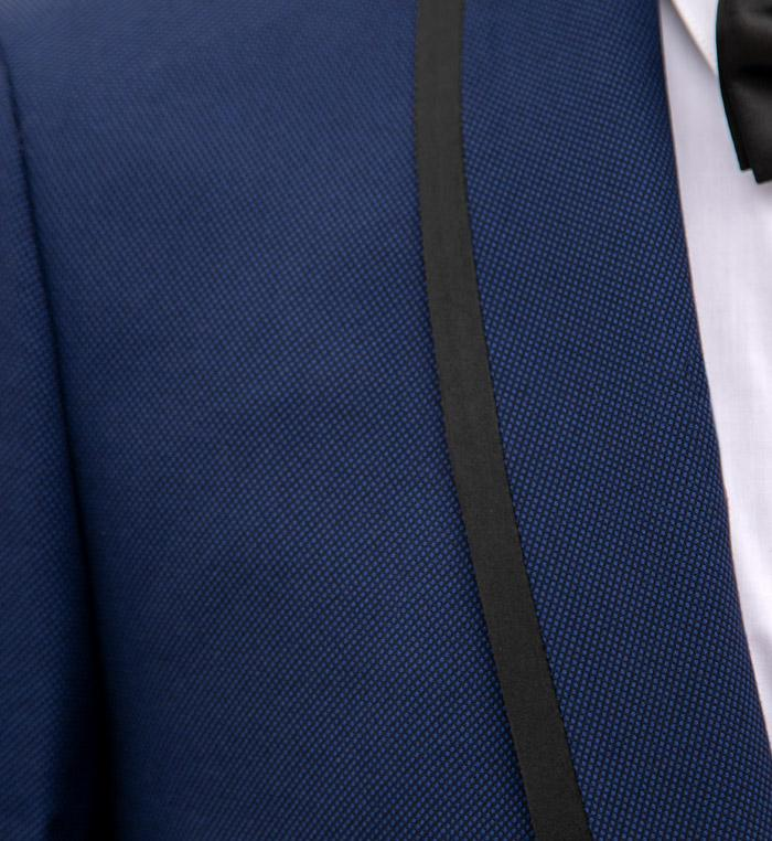 Birdseye Blue Shawl Lapel & Black Trim Tuxedo