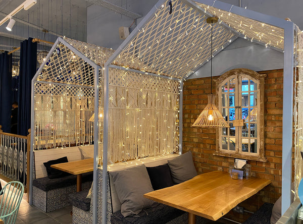 Bespoke Macrame Booths For Megan's Restaurant in Kensington, London - The Knotted Touch Bespoke Macrame