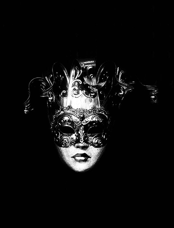 black and white photography art print mask