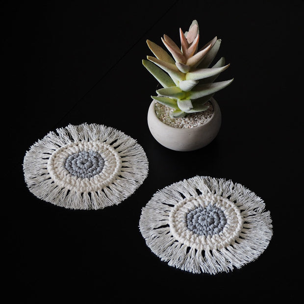 Boho Coasters - Grey & Off-White