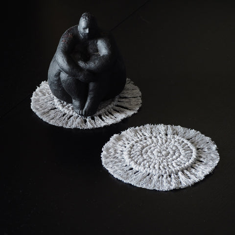 Grey Boho Coasters - Set of 2