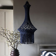 black dark blue macrame chandelier pendant light UK