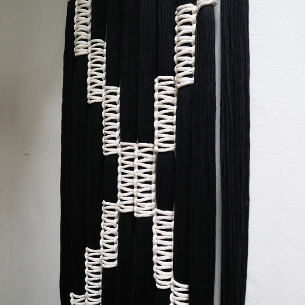 black and white wall hanging macrame