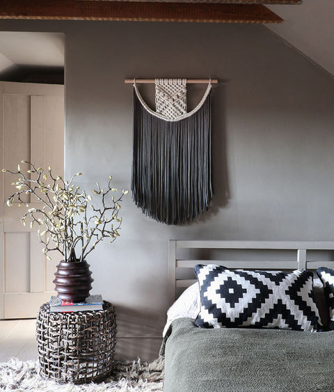 grey dip dyed macrame wall hanging terna