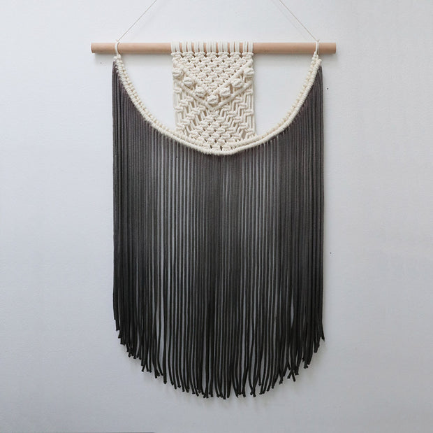 Grey Boho Wall Hanging - Dip Dyed Wall Hanging - Fiber Art UK