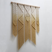 mustard yellow boho macrame wall hanging