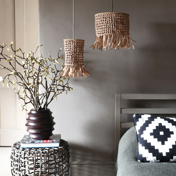 raffia wicker light shade - tassel light shade