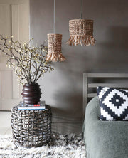 raffia tassel light shade - bedside pendant light