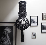 Quirky Boho Macrame Chandelier Light – Girota Black - The Knotted Touch UK