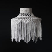 boho fringed tassel macrame light shade - roxana white - the knotted touch