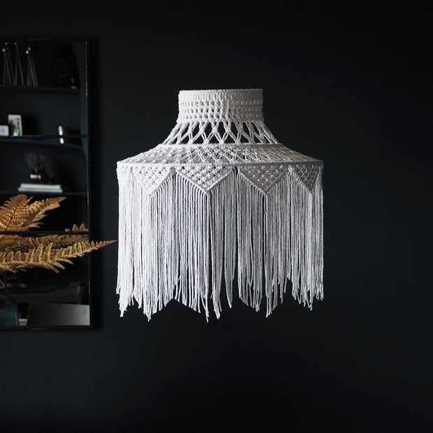 boho fringed tassel macrame light shade - roxana white - the knotted touch uk
