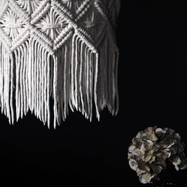 Boho Macrame Lampshade – Viotina - The Knotted Touch UK