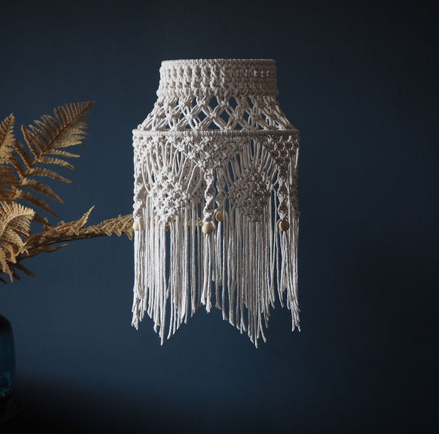 Boho Macrame Light Shade - Crista Small - The Knotted Touch