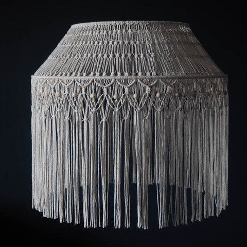 Boho Macrame Light Shade - Gabriela - large natural - The Knotted Touch