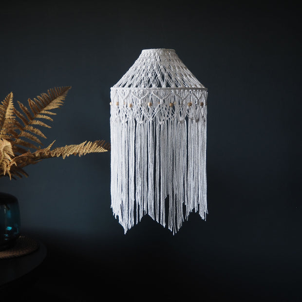 Quirky Boho Macrame Lampshade White - June - The Knotted Touch
