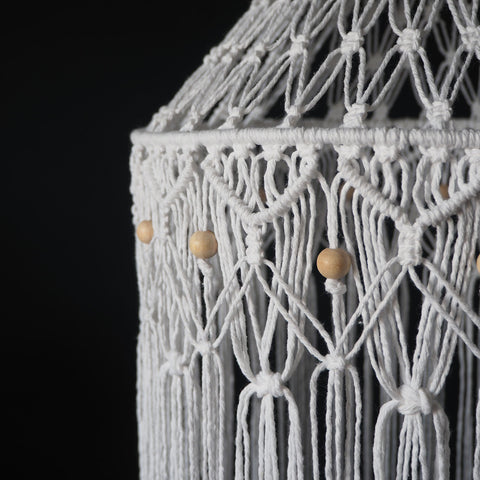 Quirky Boho Macrame Lampshade White - June