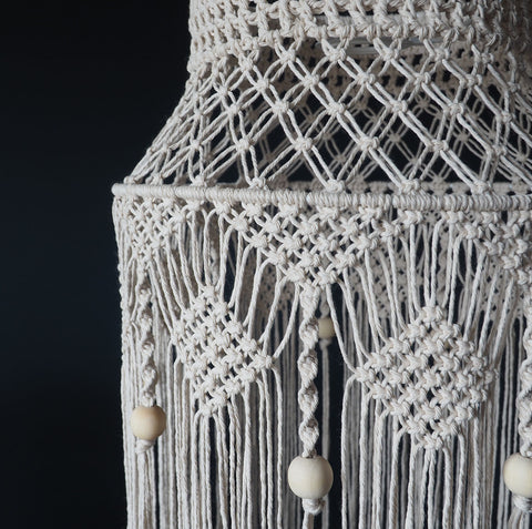 Macrame Boho Light Shade Natural - Crista - The Knotted Touch