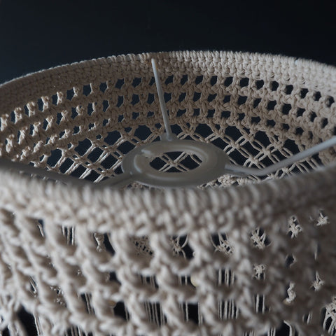 Macrame Boho Lampshade Natural - Crista - The Knotted Touch