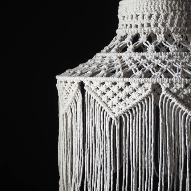 Boho Tasseled Macrame Light Shade – Roxana Natural, White, Black