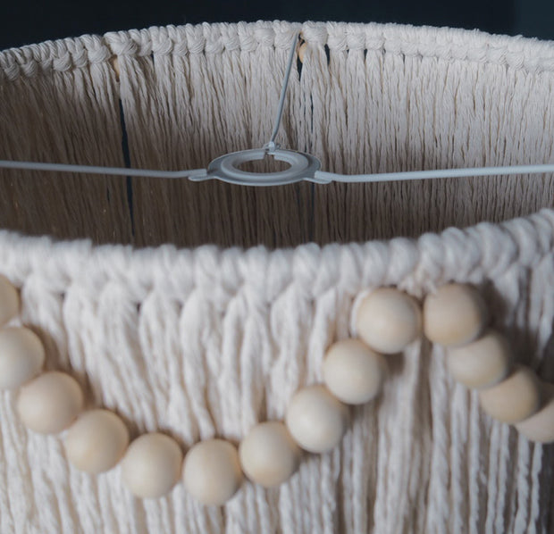boho tassel light shade - beaded - fitting ring