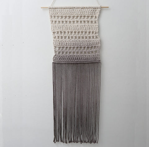 boho wall hanging in grey