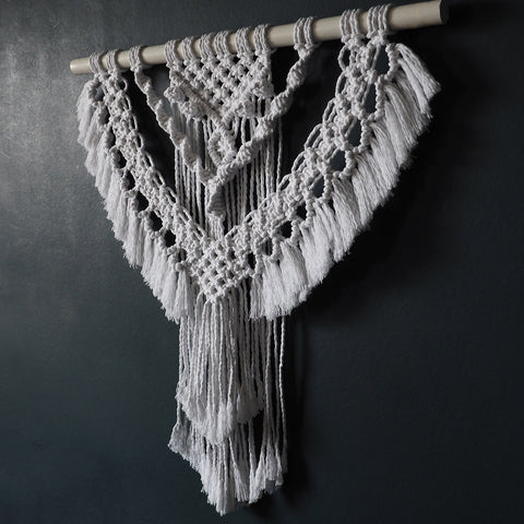 White Boho Macrame Wall Hanging UK