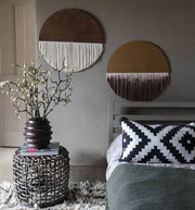 Round Boho Wall Hanging - Ralpo Dark Brown & Natural Fibers