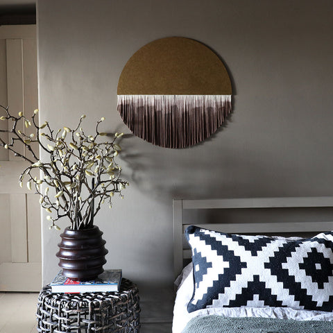 Round Boho Wall Hanging - Gilya - Dip Dyed Brown