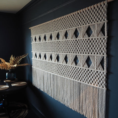 Large Wide Macrame Wall Hanging - Dumino - The Knotted Touch UK