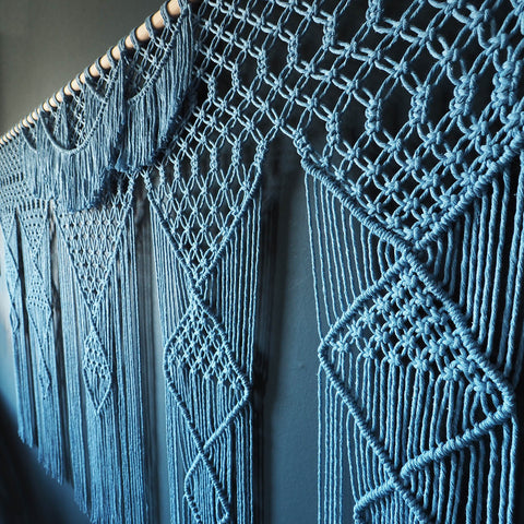 Extra Large Macrame Wall Hanging 2000mm wide - Dolina Blue